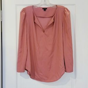 Ann Taylor Salmon Pink Silky Blouse Gold Details